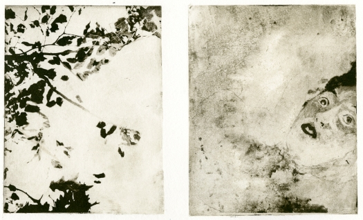 """The Art of Drowning"" 20""x 14"" Solar Plate/Monotype Diptych on Paper 2014"